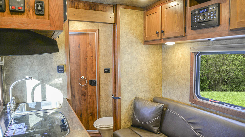 Living space in a Charger Bumper Pull CXHSLBP11SE   Lakota Trailers