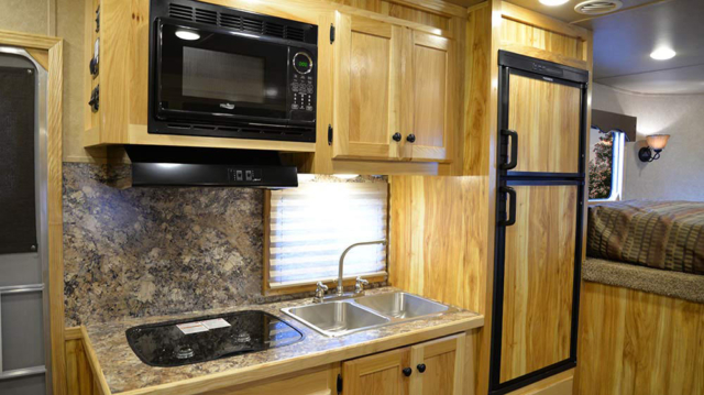 Kitchen Area in C8X15BB Charger Edition Horse Trailer | Lakota Trailers