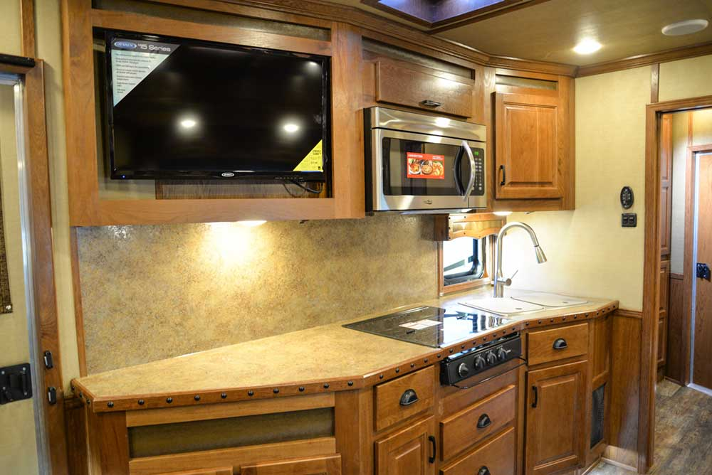Kitchen in a Bighorn Livestock BLE8X16SR | Lakota Trailers