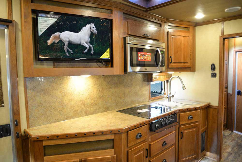 Kitchen Area in BLE8X16SR Bighorn Edition Livestock Trailer | Lakota Trailers