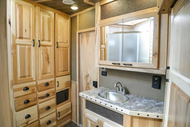 Bathroom in BH8X17BSB Bighorn Horse Trailer | Lakota Trailers