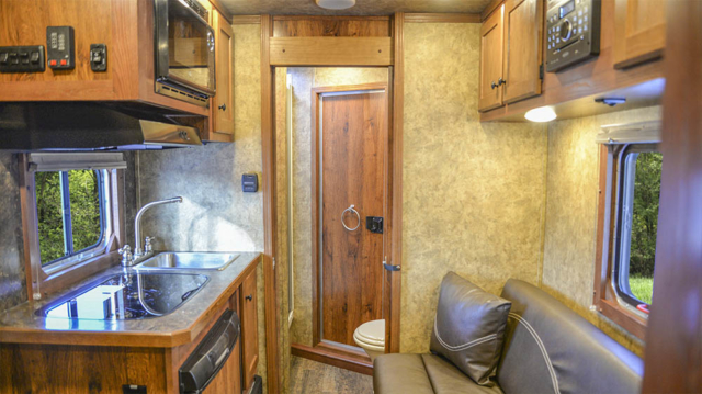 Living space in a Charger Bumper Pull CXHSLBP11SE | Lakota Trailers