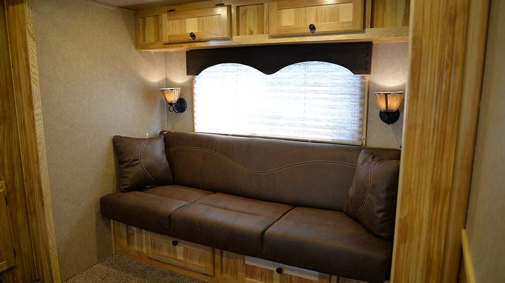 Sofa in C8X15BB Charger Edition Horse Trailer | Lakota Trailers