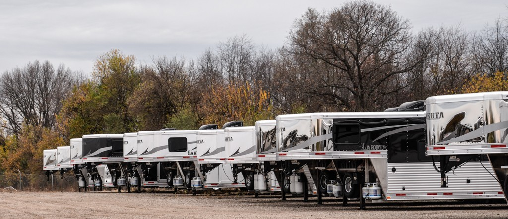 line up of lakota trailers.