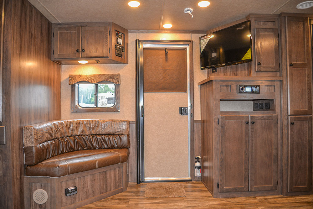 View from Sofa Bed in a C8X15CL - Charger Edition Horse Trailer | Lakota Horse Trailers