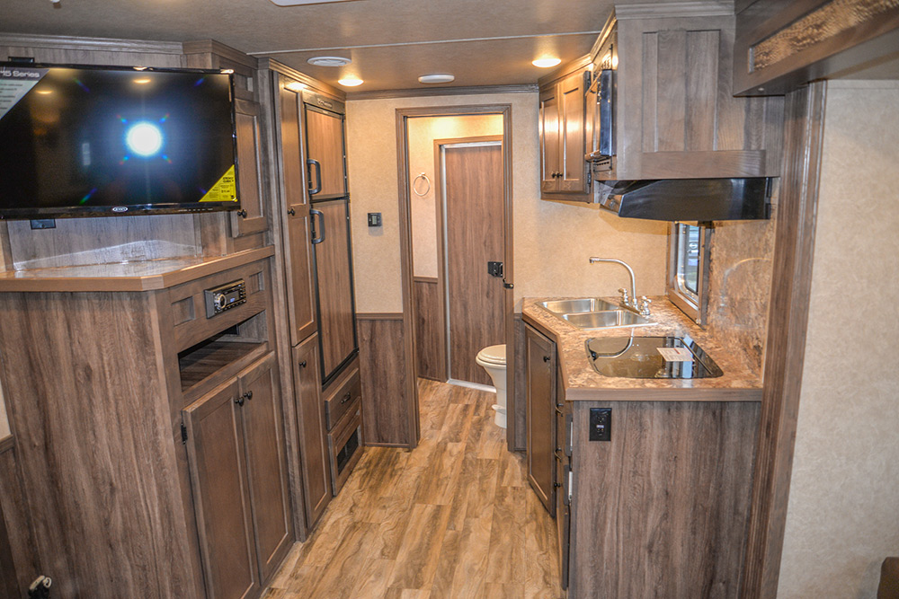 View of Kitchen in a C8X15CL - Charger Edition Horse Trailer | Lakota Horse Trailers