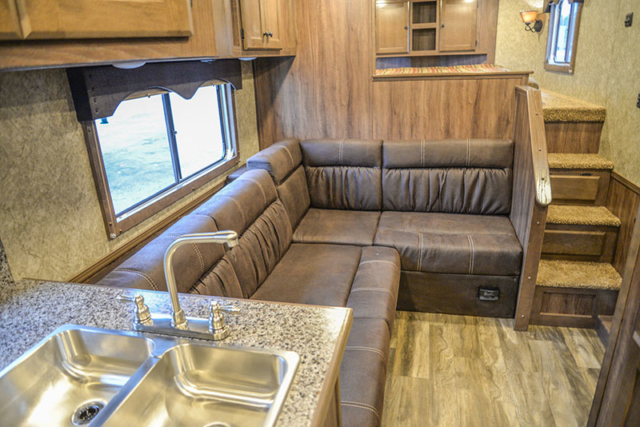 Sofa Bed Layout in a C8X14LSR - Charger Edition Horse Trailer | Lakota Horse Trailers