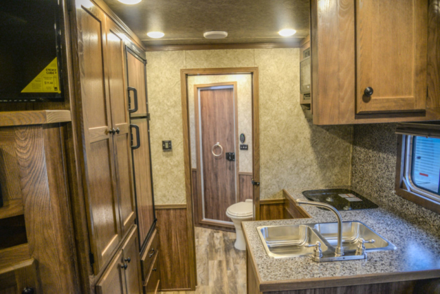 Back Half of a Living Area in a C8X14LSR - Charger Edition Horse Trailer | Lakota Horse Trailers