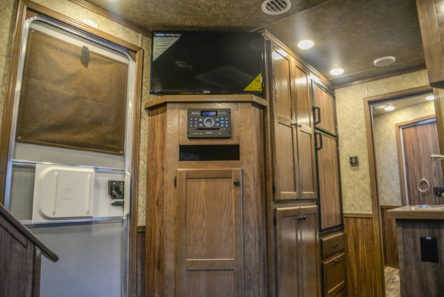 Living Area Storage in a C8X14LSR - Charger Edition Horse Trailer | Lakota Horse Trailers