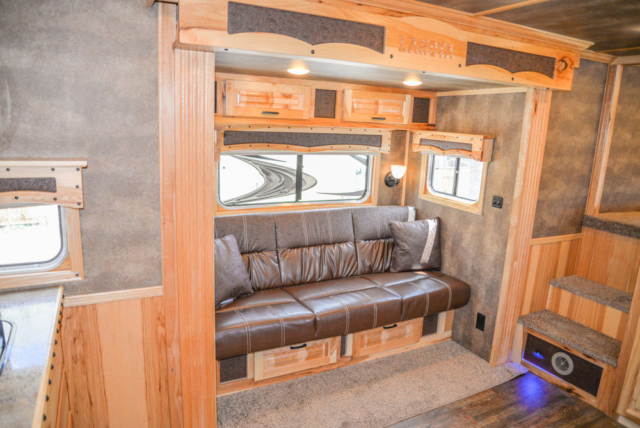 Sofa in a BH8X16CL - Bighorn Edition Horse Trailer | Lakota Horse Trailers