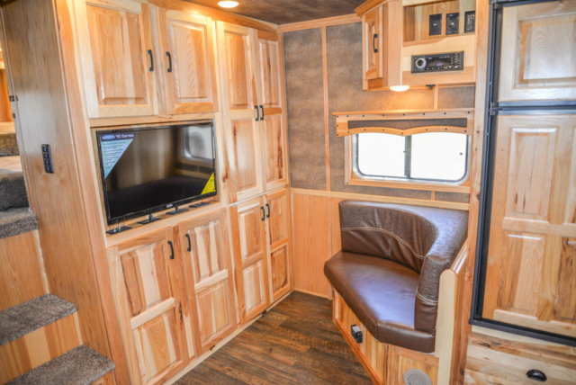 Front Entertainment in a BH8X16CL - Bighorn Edition Horse Trailer | Lakota Horse Trailers