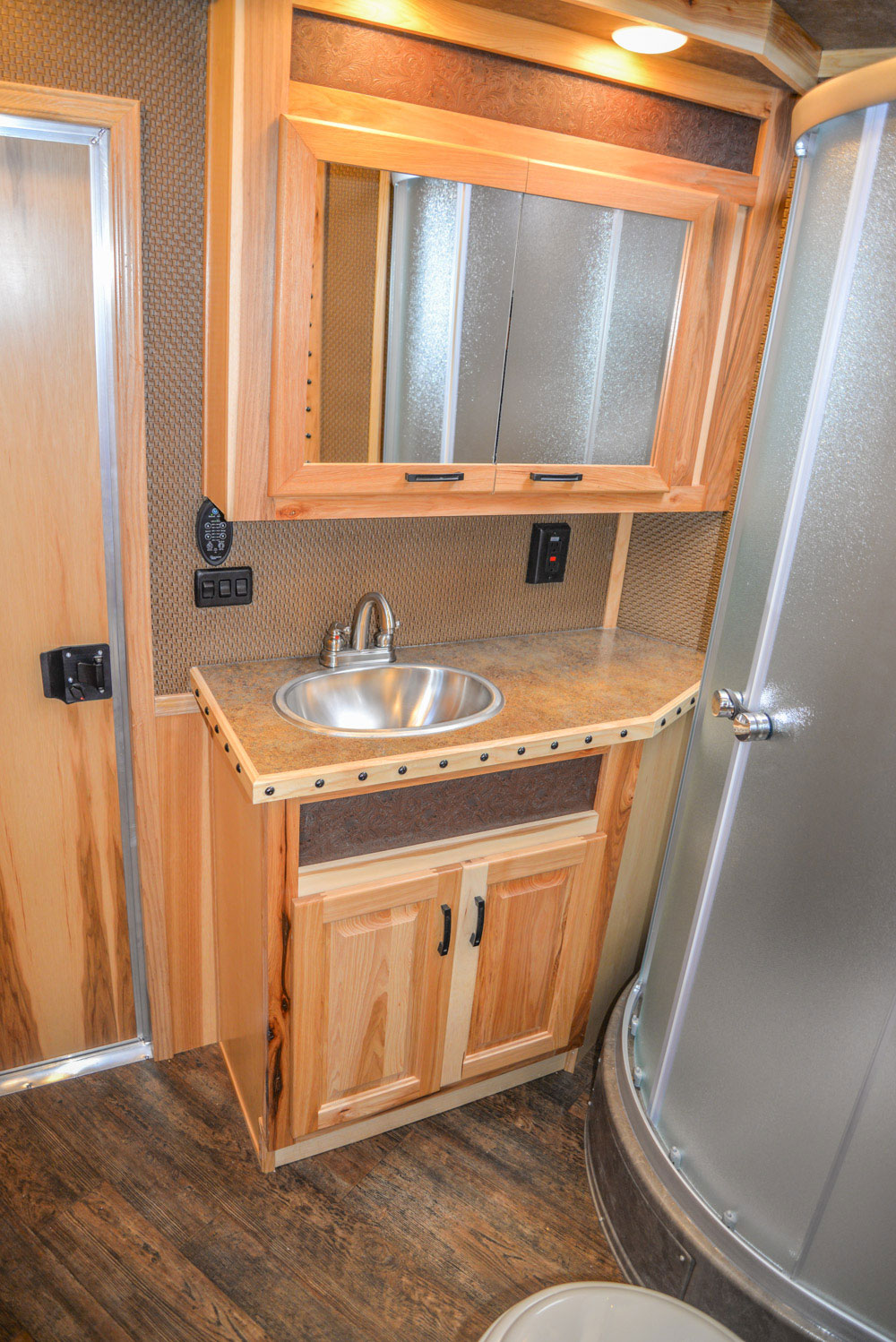 Bathroom Area in a BH8X16CL - Bighorn Edition Horse Trailer | Lakota Horse Trailers