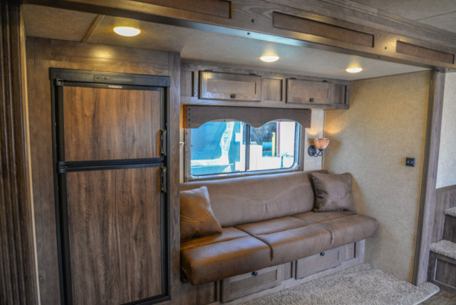 Sofa in a C8X15CE - Charger Edition Horse Trailer | Lakota Horse Trailers