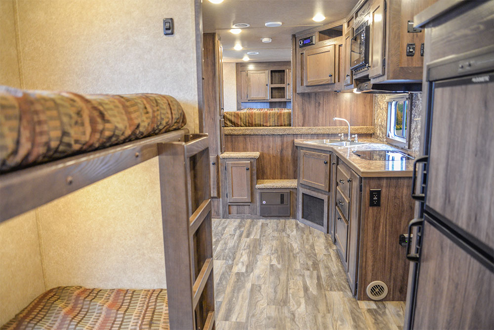 Living Quarters Area in a LE8X16BB - Charger Livestock Edition Trailer | Lakota Trailers