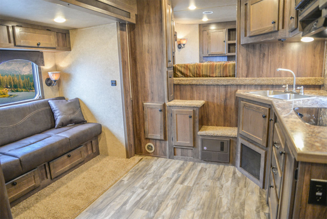Living Area in a LE8X16BB - Charger Livestock Edition Trailer | Lakota Trailers