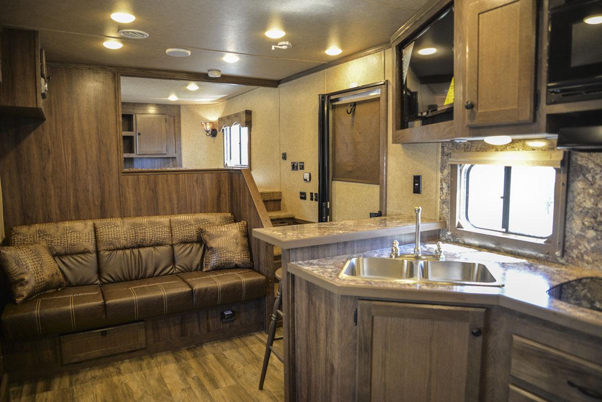 Living space in Charger C8X17SRB 9'U | Lakota Trailers