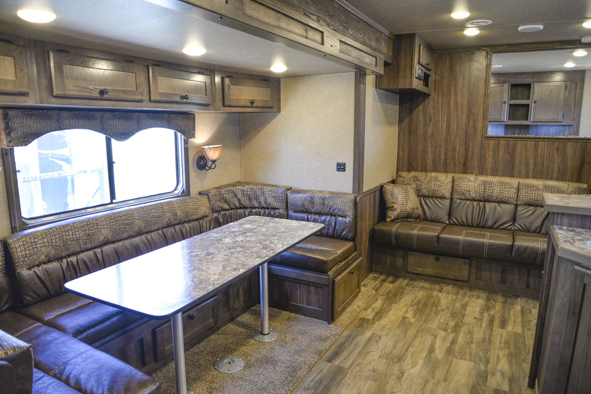 Dinette Sofa in Charger C8X17SRB 9'U | Lakota Trailers