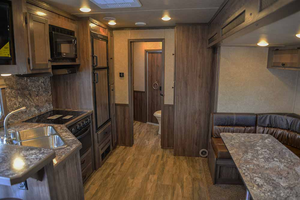 Living space in Charger C8X17SRB 9'U   Lakota Trailers