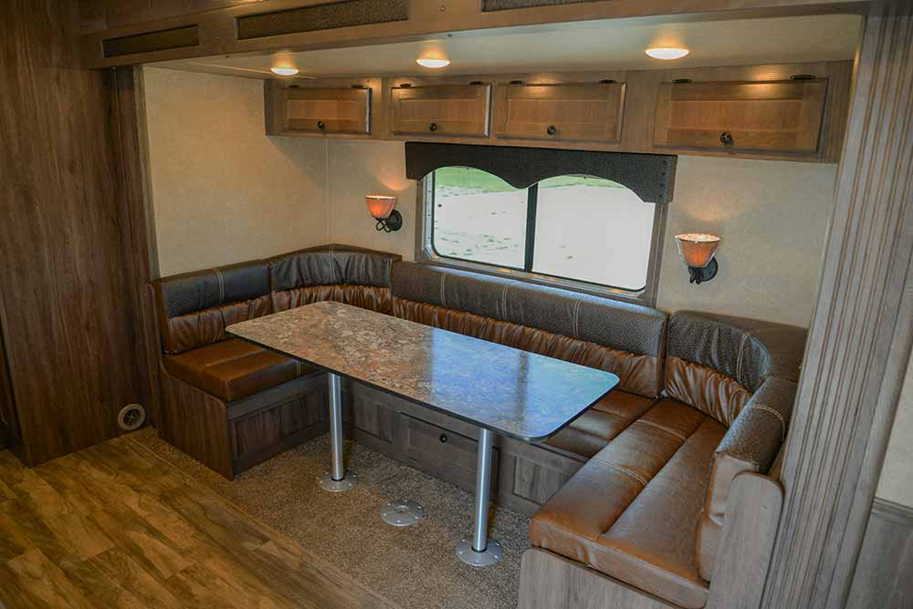 U-shaped Dinette in Charger C8X17SRB 9'U   Lakota Trailers