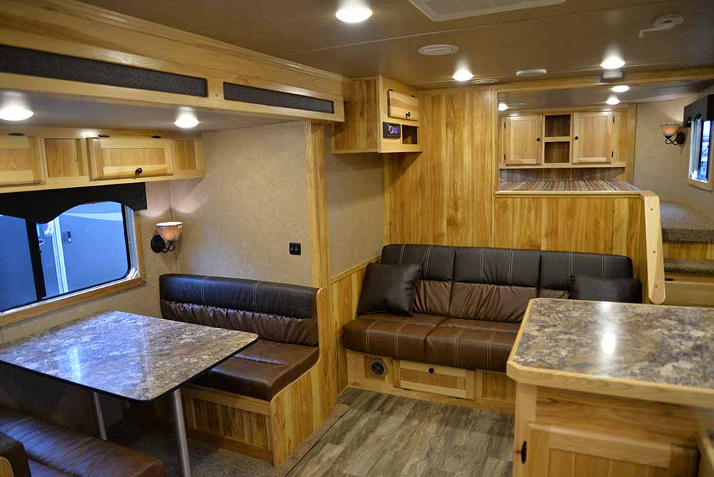 Sofa and Dinette in Charger C8X15SRB | Lakota Trailers