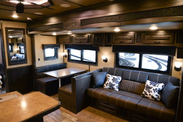 Dinette and sofa in 2019.5 Bighorn BH8X17 | Lakota Trailers