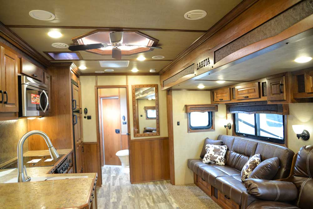 Living space in 2019.5 Bighorn BH8X18CE   Lakota Trailers