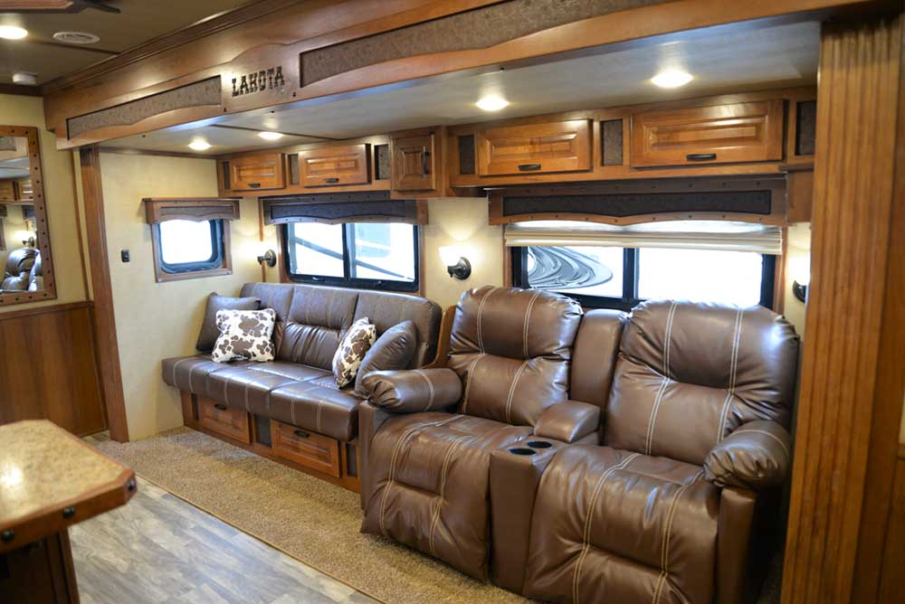 Sofa and recliner chairs in 2019.5 Bighorn BH8X18CE   Lakota Trailers