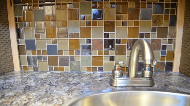 Bathroom backsplash sink in 2019.5 Bighorn BH8X192S| Lakota Trailers