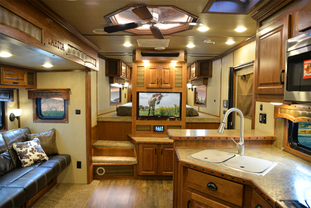 Living space in 2019.5 Bighorn BH8X14CE | Lakota Trailers