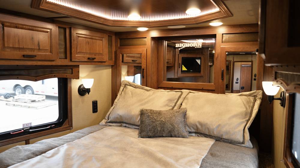 Bedroom with TV  in 2019.5 BH8X16SR | Lakota Trailers