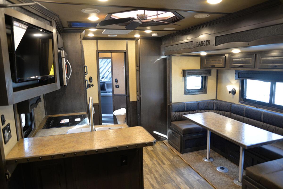 Living area in 2019.5 Bighorn BH8X17SRB | Lakota Trailers