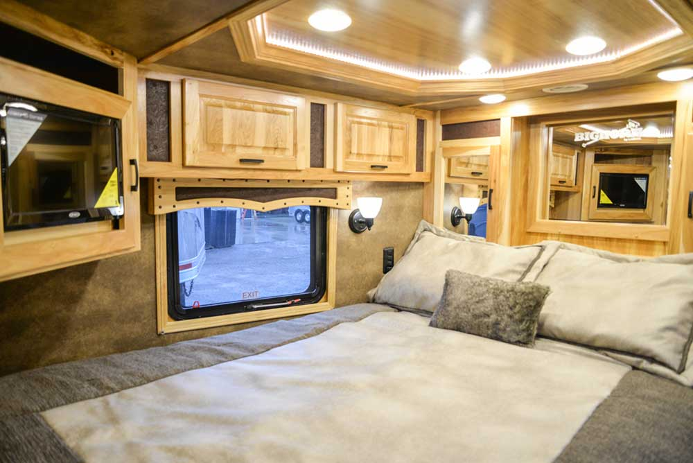 Bedroom in BH8X17BSB Bighorn Horse Trailer | Lakota Trailers