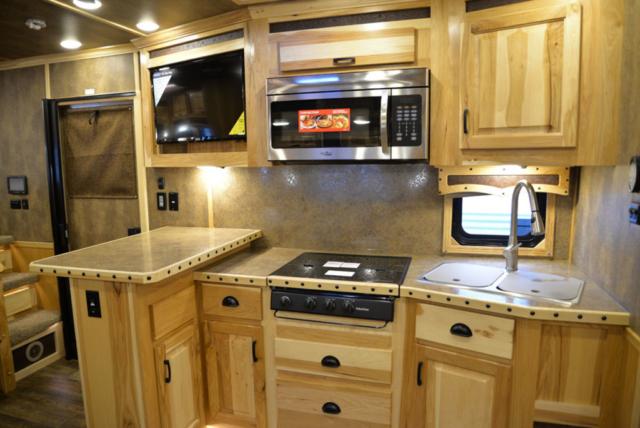 Kitchen in BH8X16SR Horse Trailer with Bar   Lakota Trailers
