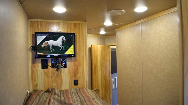 TV in Bunk Beds Area in C8X15BB Charger Edition Horse Trailer | Lakota Trailers