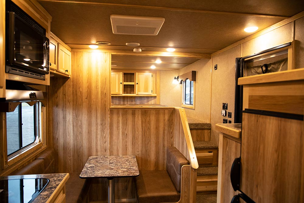 Living Quarters in a LE8X11DR Charger Edition Livestock Trailer   Lakota Trailers