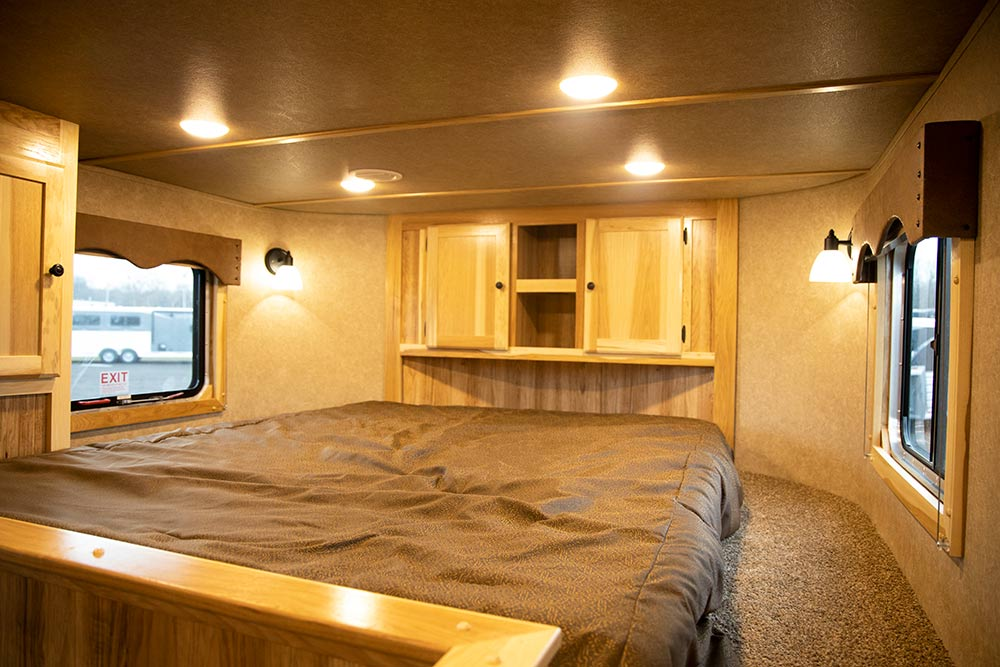 Bed in Gooseneck of a LE8X11DR Charger Edition Livestock Trailer   Lakota Trailers