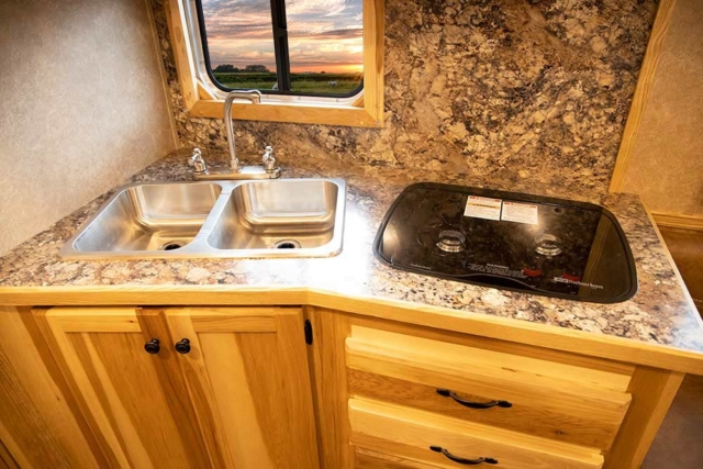 Kitchen Area in LE8X11DR Charger Edition Livestock Trailer | Lakota Trailers