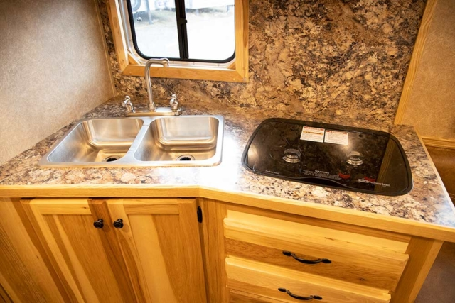 Kitchen Area in a LE8X11DR Charger Edition Livestock Trailer   Lakota Trailers