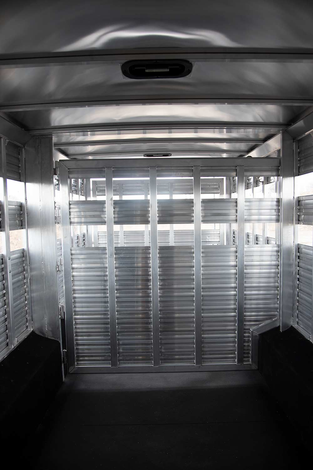 Livestock Area in a LE8X11DR Charger Edition Livestock Trailer   Lakota Trailers