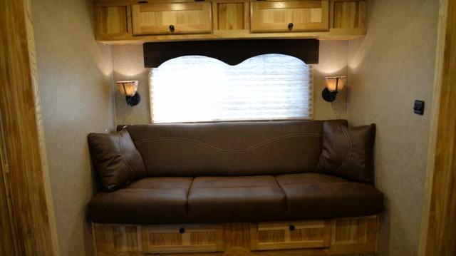 Sofa in Charger C8X15BB Horse Trailer | Lakota Trailers