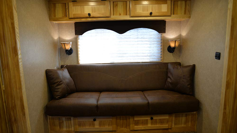 Sofa in Charger C8X15BB Horse Trailer | Lakota Trailers