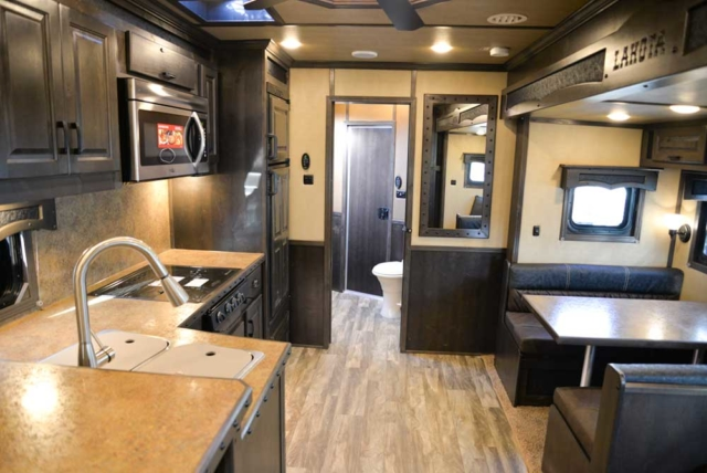 Kitchen and Dining Area BH8X17 Bighorn Horse Trailer | Lakota Trailers