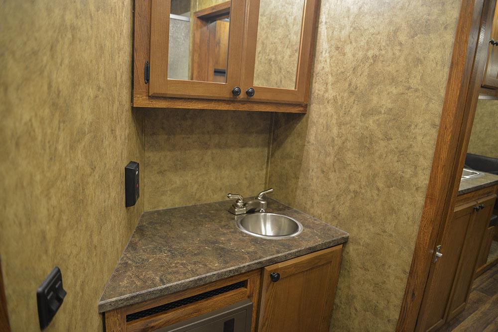 Bathroom in a Colt AC8415   Lakota Trailers