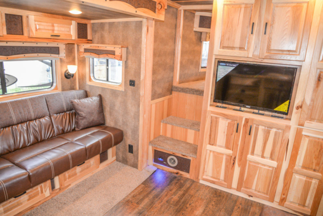 Living Room in BH8X16CL Bighorn Horse Trailer | Lakota Trailers