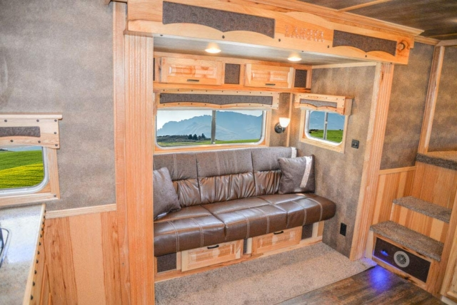 Sofa in BH8X16CL Bighorn Edition Horse Trailer   Lakota Trailers