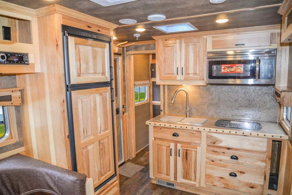 Kitchen Area in BH8X16CL in Bighorn Edition Horse Trailer   Lakota Trailers