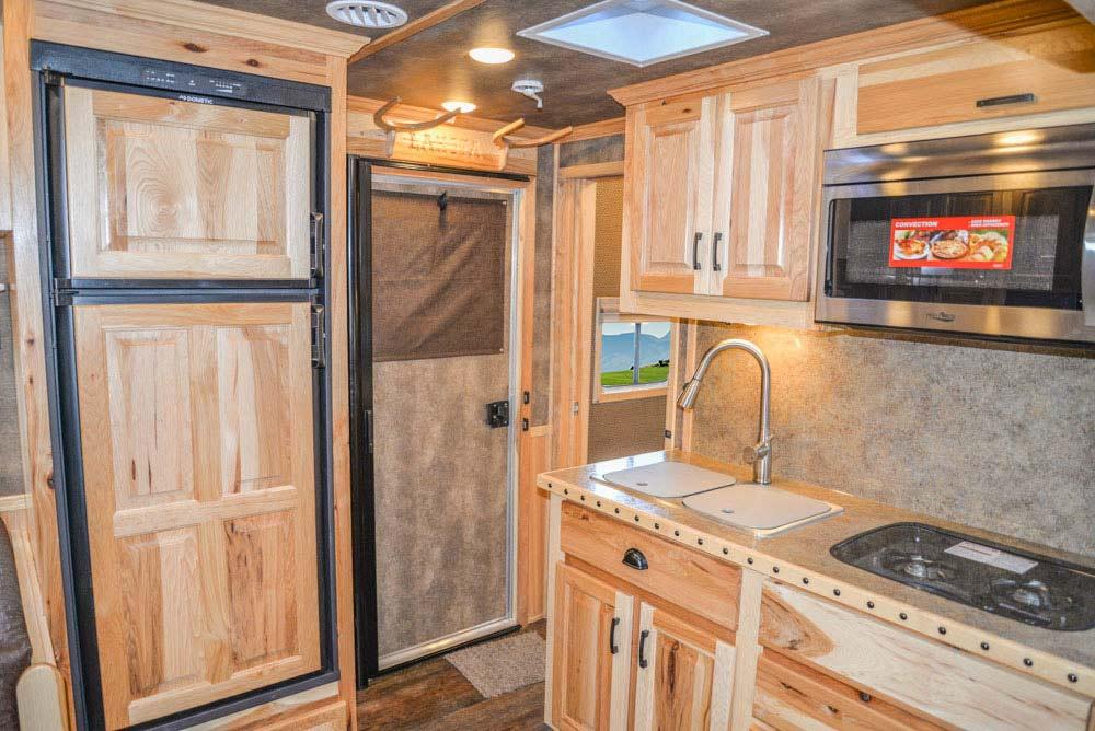 Kitchen Area in BH8X16CL Bighorn Edition Horse Trailer   Lakota Trailers