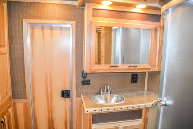 Bathroom in BH8X16CL Bighorn Horse Trailer | Lakota Trailers