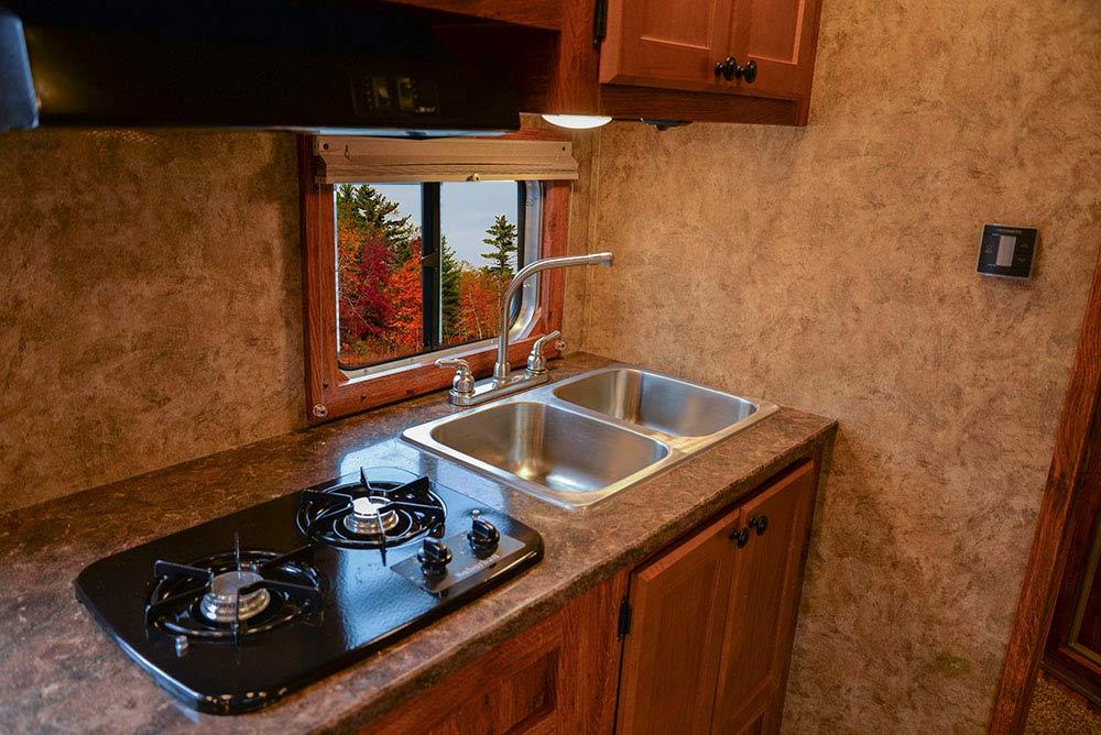 Kitchen Area in AC8X11 Colt Edition Horse Trailer   Lakota Trailers