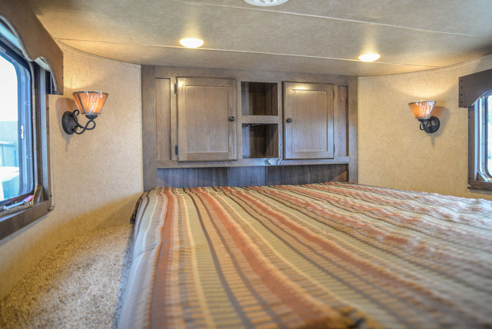 Bedroom in Charger C8X14CE Horse Trailer   Lakota Trailers